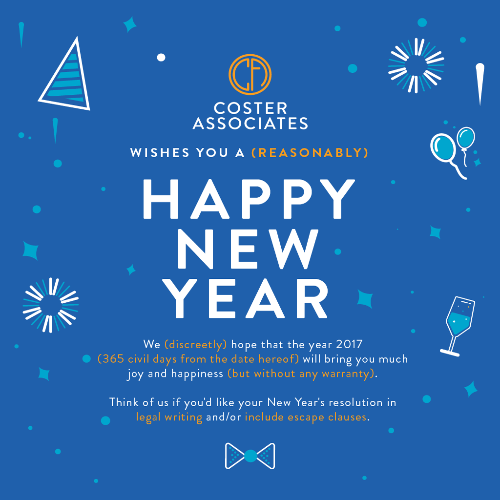 Happy New Year 2017 for COSTER ASSOCIATES law firm